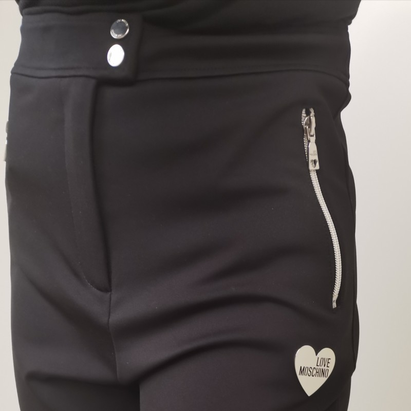 LOVE MOSCHINO - Pantaloni a Vita Alta con Zip - Nero