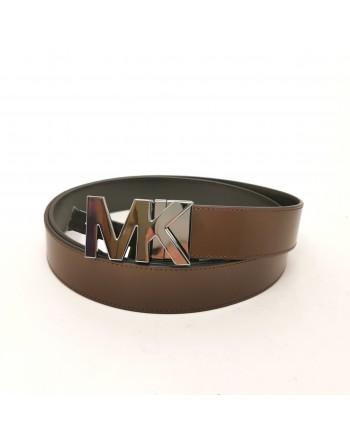 MICHAEL by MICHAEL KORS -Leather Logo Belt - Mocha/Black