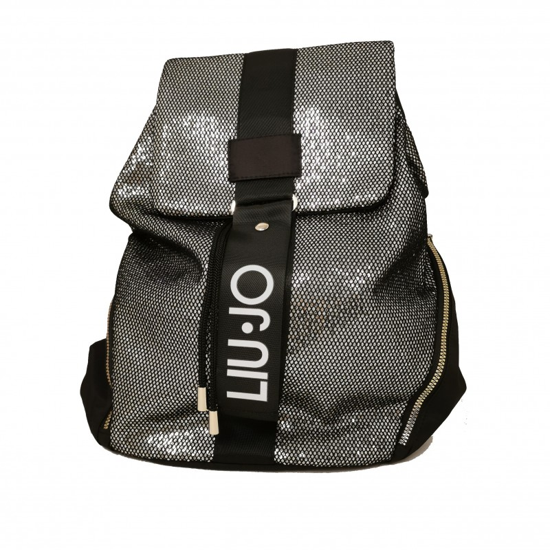 LIU-JO SPORT - Glitter Mesh and Logo Backpack - Black/Silver