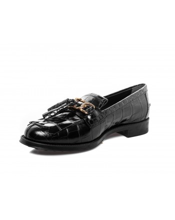 TOD'S - Croco styled Leather Loafers - Black