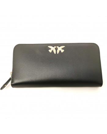 PINKO - Leather Zip Around Wallet - Black