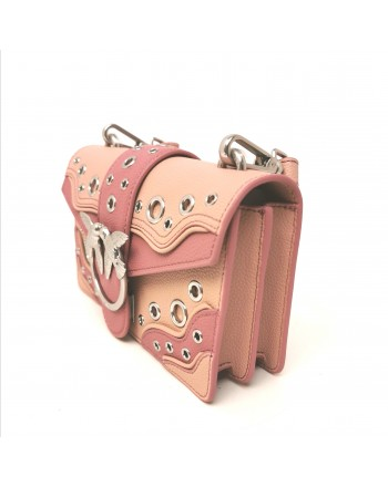 PINKO - Borsa in Pelle LOVE MINI ROMANTIC - Light Pink/Pink