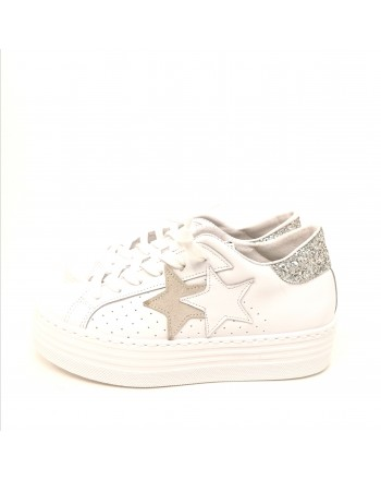 2 STAR - Sneakers Platform  - Bianco/Argento