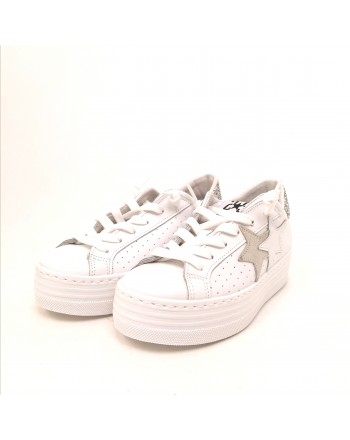 2 STAR - Platform Sneakers - White/Silver
