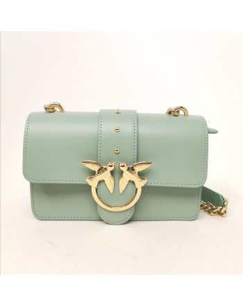 PINKO - Borsa in Pelle LOVE MINI SIMPLY - Verde Acqua