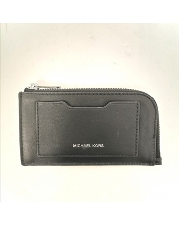 MICHAEL by MICHAEL KORS -  Leather Zip Around Wallet with Logo- Black