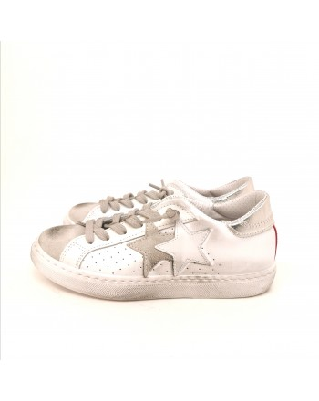 2 STAR - Used style leather sneakers - White/Pink