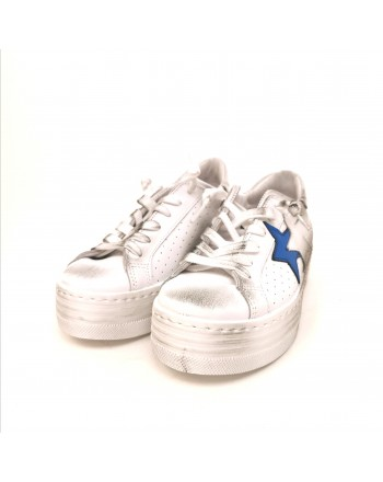 2 STAR - Platform Sneakers - White/Light Blue
