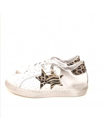 2 STAR - Used style sneakers - White/Spotted Beige