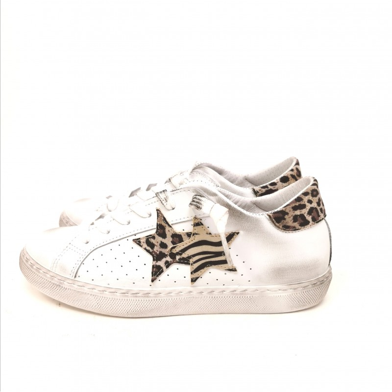 2 STAR - Sneakers effetto used - Bianco/Maculato Beige