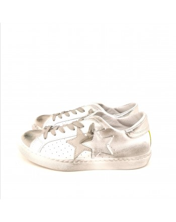 2 STAR  - Sneakers effetto Used - Bianco/Giallo Fluo