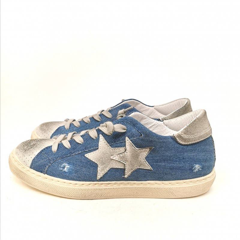 2 STAR - Used Jeans Sneakers - Blue Jeans/Ice