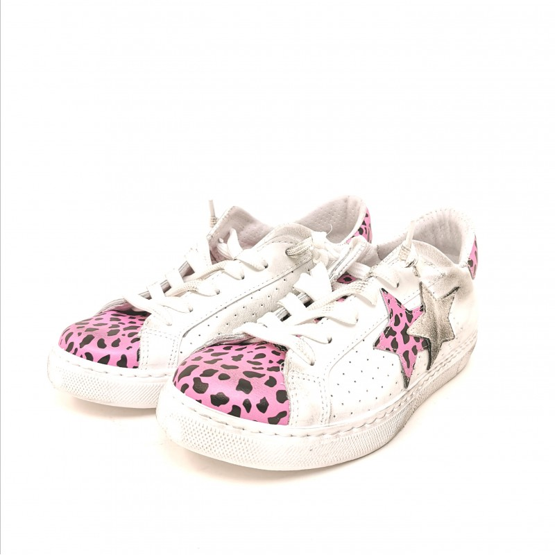 2 STAR - Animalier Detail Sneakers - White/Pink Animalier