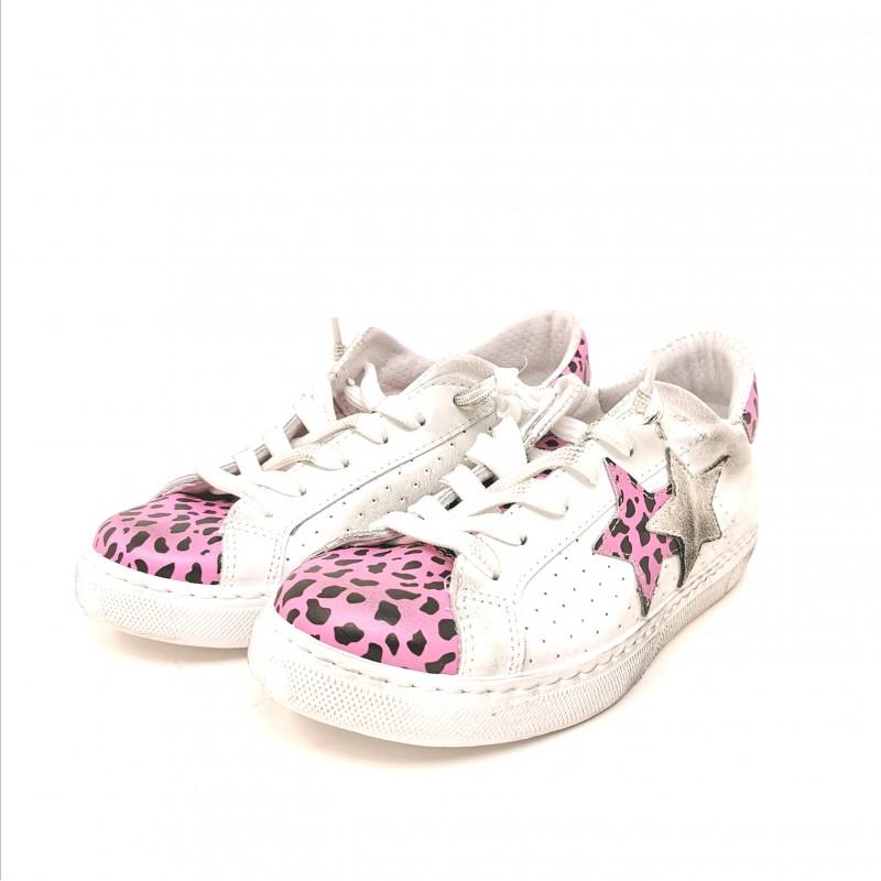 2 STAR  - Sneakers Dettaglio Maculato - Bianco/Maculato Fucsia