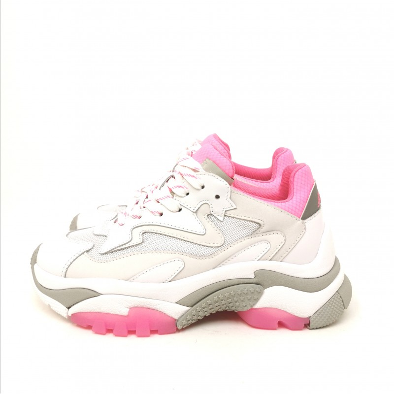 ASH - Sneakers ADDICT in Nappa- Bianco/Rosa