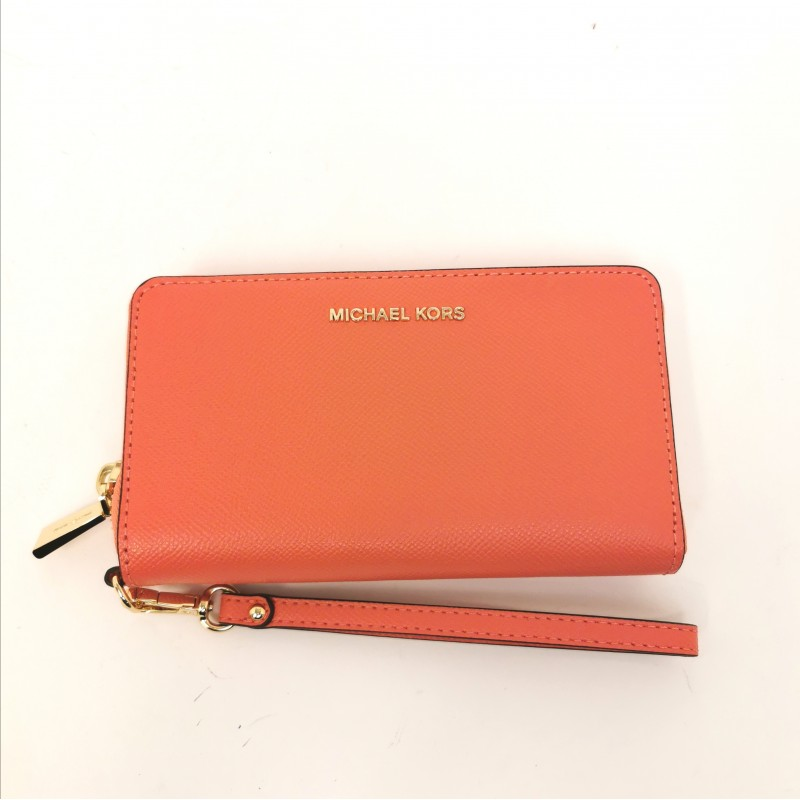 MICHAEL BY MICHAEL KORS - Leather wrist bag - Pink Grapefruit
