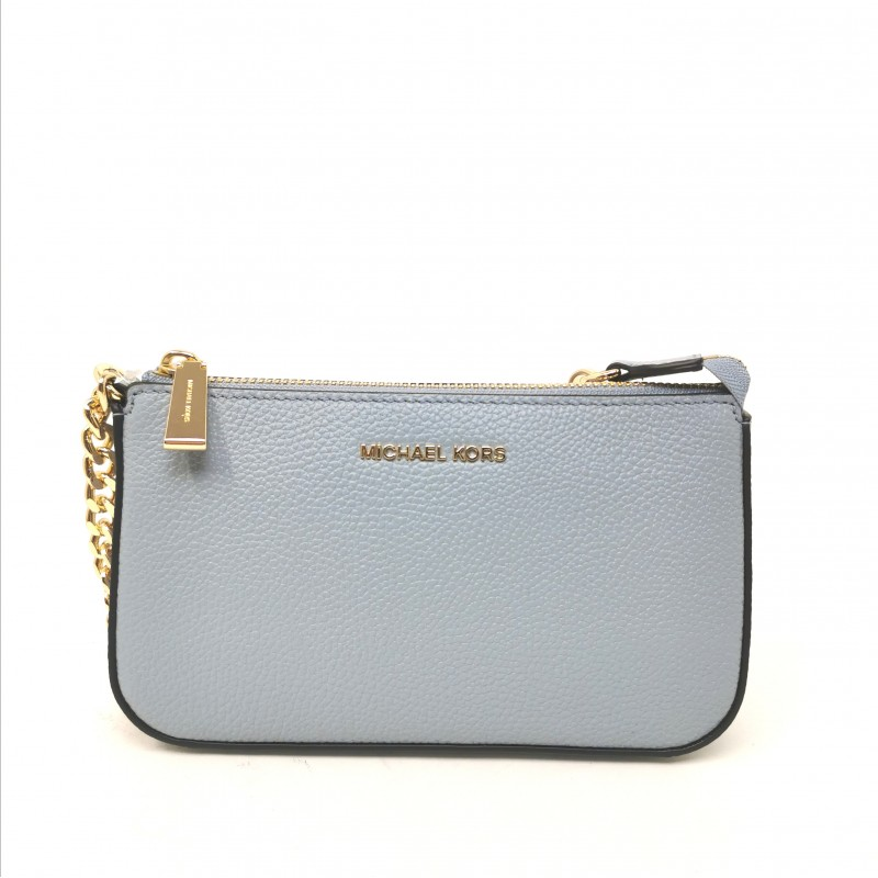 MICHAEL by MICHAEL KORS -  Leather Pouch with Metallic Chain - Pale Blue