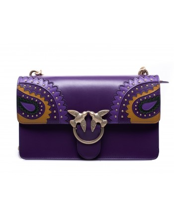 PINKO - Leather Bag LOVE PAISLAY - Dark Purple