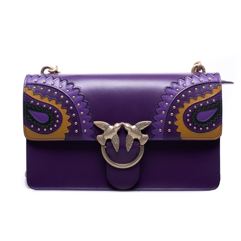 PINKO - Borsa in Pelle LOVE PAISLAY - Dark Purple