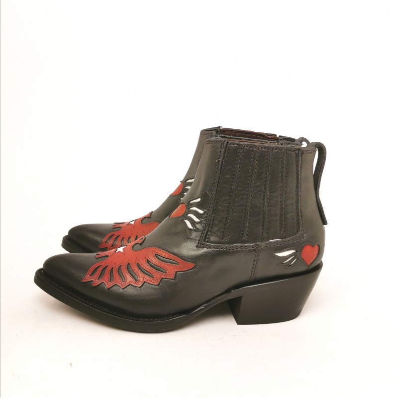 ASH - Leather Texan Boots - Black/Maresia Red
