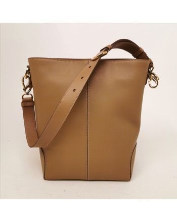 TOD'S - Leather Satchel Bag with Logo - Light Tobacco