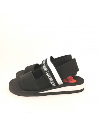 LOVEMOSCHINO - Elastic Band Logo Sandal - Black
