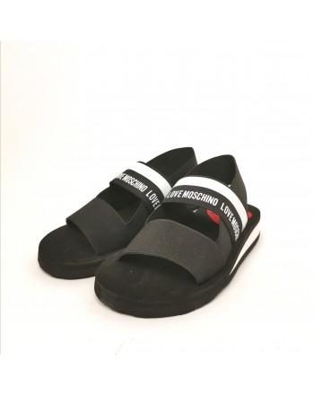 LOVE MOSCHINO - Sandalo con Fasce Elastiche e Logo  - Nero