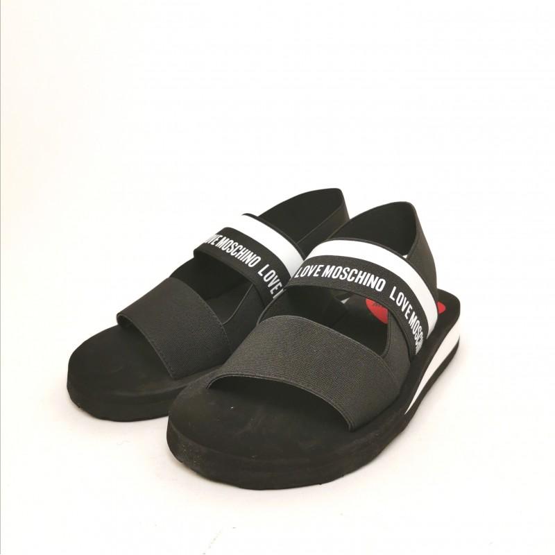 LOVEMOSCHINO - Elastic Band Logo Sandal - Black