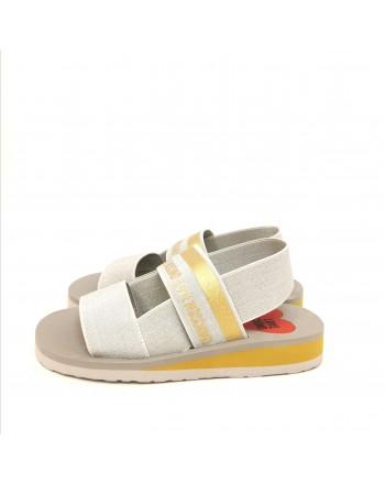 LOVE MOSCHINO - Sandalo con Fasce Elastiche e Logo  - Argento