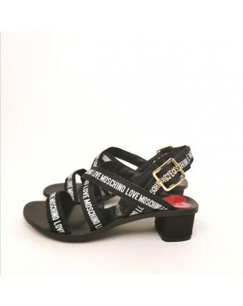 LOVE MOSCHINO - Logo Straps Sandal - Black