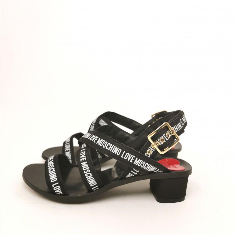 LOVE MOSCHINO - Sandalo con Fasce Logate - Nero