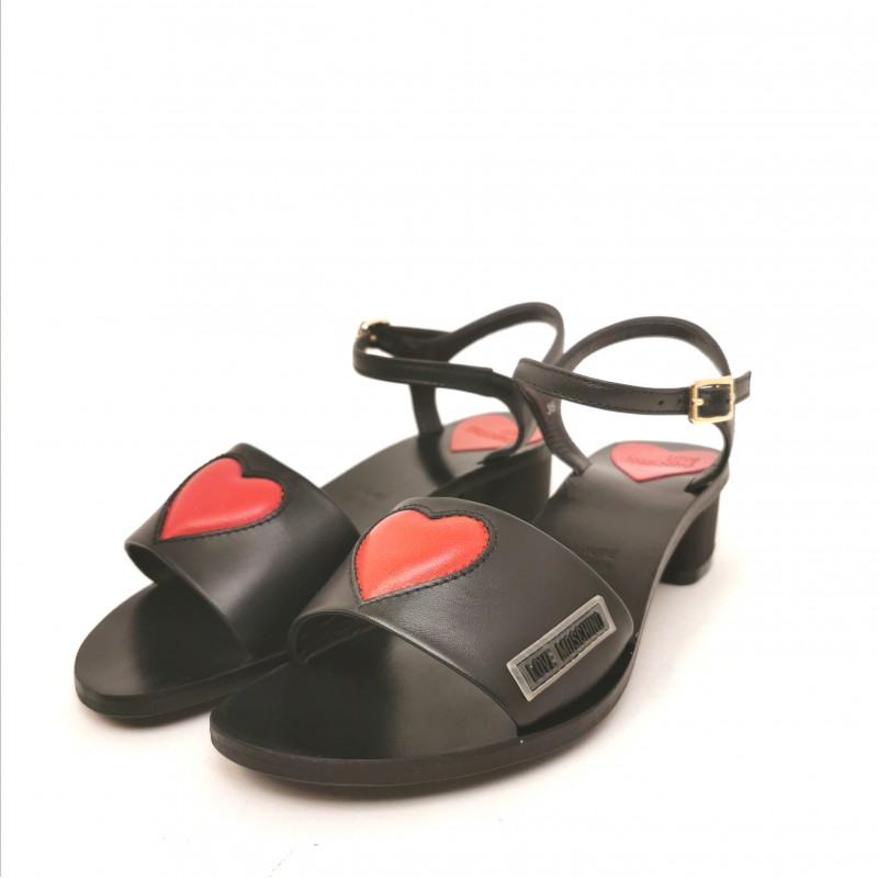 LOVE MOSCHINO - Sandal with Heart - Black
