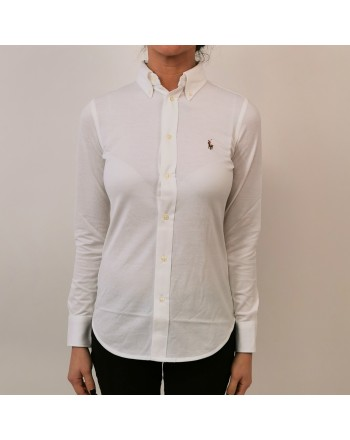 POLO RALPH LAUREN - Camicia in Piquet con Logo - Bianco