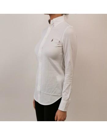 POLO RALPH LAUREN - Camicia in Piquet con Logo - Bianco