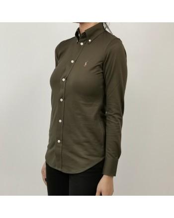POLO RALPH LAUREN - Camicia in Piquet con Logo - Militare