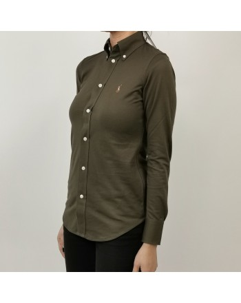 POLO RALPH LAUREN -  Cotton Piquet Shirt -  Military Green