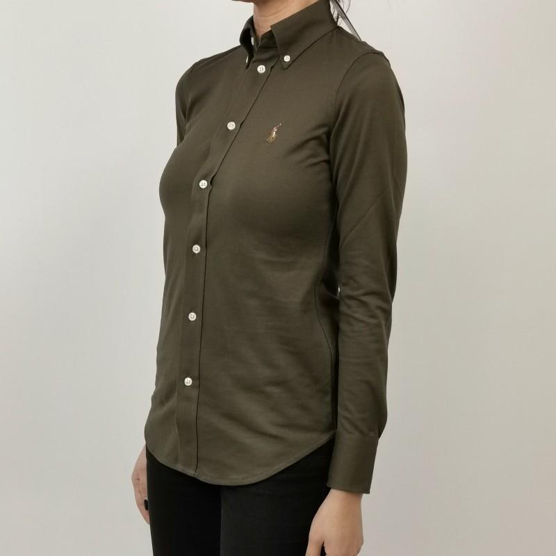 POLO RALPH LAUREN -  Cotton Piquet Shirt -  Military Green