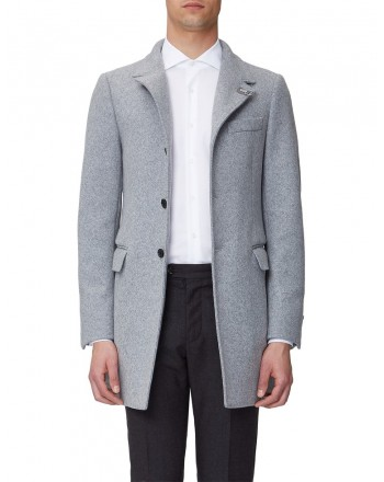 FAY - 3 Buttons and Frog Wool Coat  - Grey