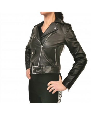 MICHAEL by MICHAEL KORS -Leather  Biker Jacket- Black