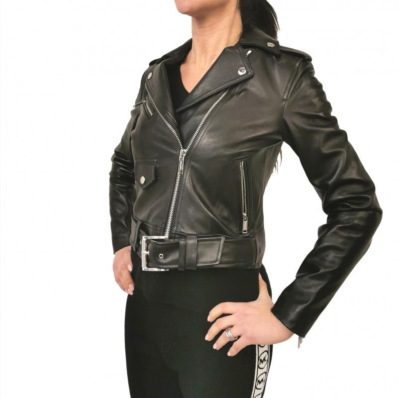 MICHAEL by MICHAEL KORS -Leather  Biker Jacket- Black