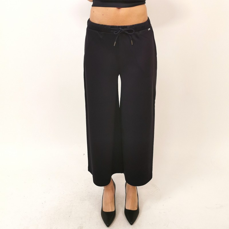 FAY - Cropped Trousers with Laces - Blue