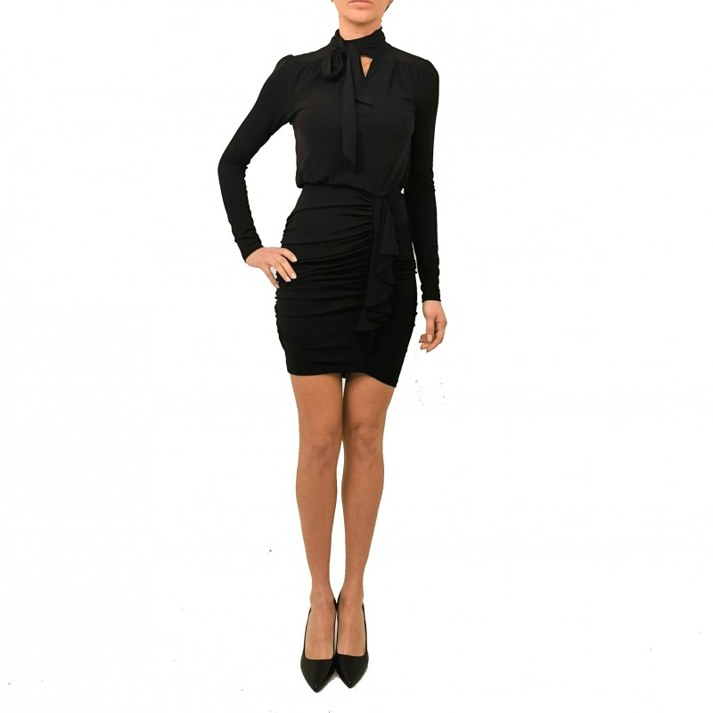 MICHAEL by MICHAEL KORS - Long Sleeves Dress with Side Drapes - Black