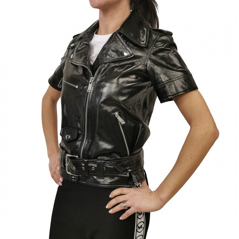 MICHAEL by MICHAEL KORS - Half Sleeves Biker Jacket - Black