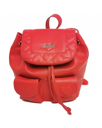 LOVE MOSCHINO - Quilted backpack with hearts - Red