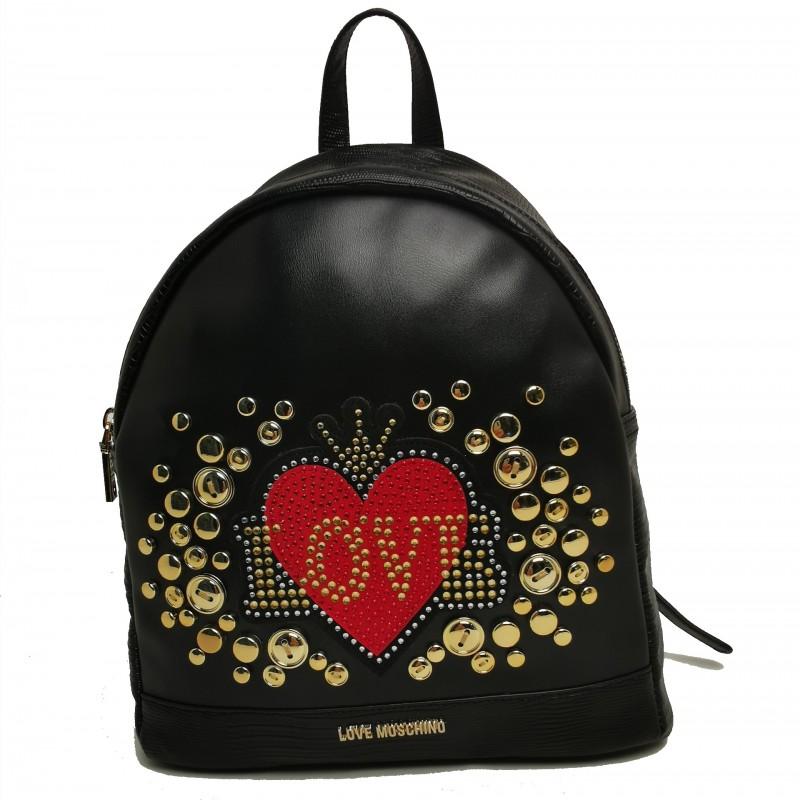 LOVE MOSCHINO Zaino in ecopelle con borchie Rosso