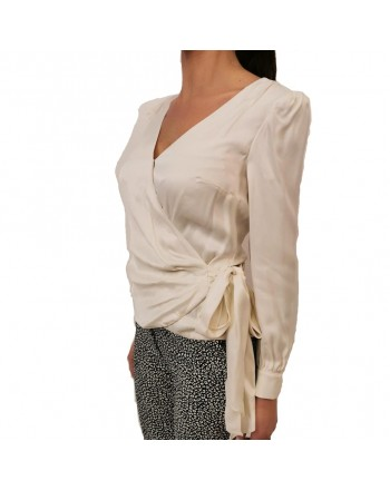 MICHAEL BY MICHAEL KORS - Satin shirt with bow - Bone