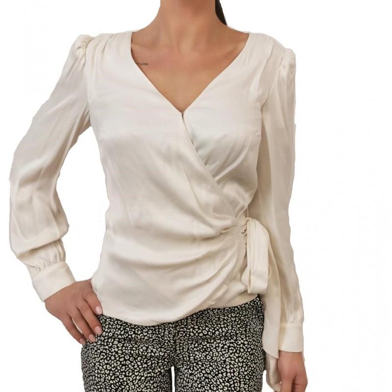 MICHAEL BY MICHAEL KORS - Satin shirt with bow - Bone