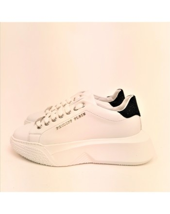 PHILIPP PLEIN - LoTop Sneakers CRYSTAL in pelle - Bianco