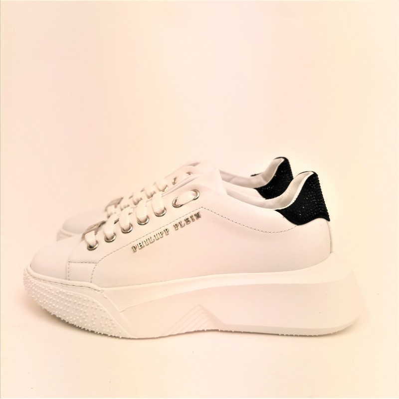 PHILIPP PLEIN - Lo-Top CRYSTAL sneackers in leather - White