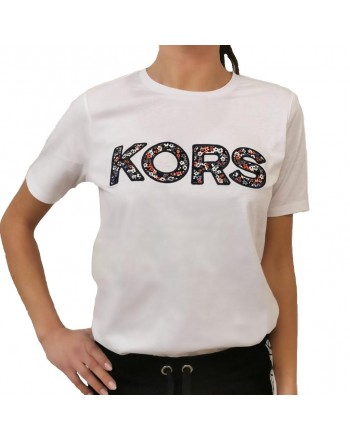 MICHAEL by MICHAEL KORS - Cotton T-Shirt Logo Flowers - White